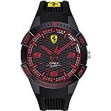 Ferrari Men's Apex Quartz Watch with Silicone Strap, Black, 18 (Model: 0830747)