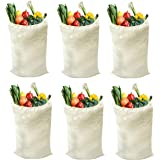 Reusable Grocery Tote Bags 6-Pack Natural (14x18) - Multipurpose Muslin Bags with Drawstring - Lightweight Durable & Heavy Du