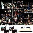 キッズ&大人向けのスクラッチ&スケッチアートペーパー(A4)、レインボーペインティングナイトビュースクラッチボード、アート&クラフト、彫刻アートセット:8枚のスクラッチカードとスクラッチドローイングペン、クリーンブラシ (American scene