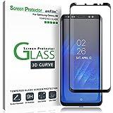 Galaxy S8 Screen Protector Glass, amFilm Full Cover (3D Curved) Tempered Glass Screen Protector with Dot Matix for Samsung Ga