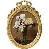 ASOWIN 11x14 Antique Picture Frames,Oval Frame with Heart Flower Finish for 10.8 x 13.2 Photos Prints,Wall Mounting Gallery D