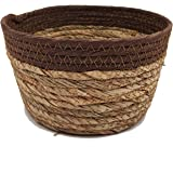 Natural Seagrass Planter Handmade Indoor Storage Basket Holder Hand-Made Storage Baskets (Portable Brown)