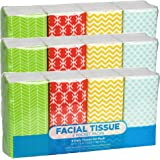 Funwares Pocket Sized White Travel Facial Tissue, 216 Sheets, Geometric Print Designed Package, 24 Pack