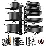 Pot Rack Organizer, 3 DIY Methods, Height and Position are Adjustable - 8 Pots Holder, Metal Kitchen Cabinet Pantry Pot Pan L
