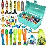 FINGUARD 58Pcs Diving Toys, Dive Toys, Dive Pool Toys, Diving Toys for Pool for Kids with Pool Treasure Chest, Pool Torpedoes