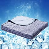 """LUXEAR Revolutionary Cooling Blanket, Special 80% mica Nylon, 20% PE Cool Fabric+100% Cotton, Blue, Blue-59"""" X 79"""""""