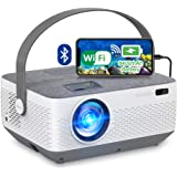 WiFi Projector Bluetooth 8400mAh Battery, Rechargeable Portable Home Projector, FANGOR 1080P Outdoor Movie Projector with Syn