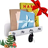 Self-Adhesive Wall Mount Mail Letter Holder with 4 Key Hooks Organizer ~ Holds Car/House Keys, Leashes, Mails, Phones (White)