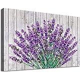 arteWOODS Vintage Flower Canvas Wall Art Bedroom Decor Purple Lavender on Wood Board Bathroom Wall Art Decor Modern Artwork C