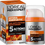 L'Oréal Paris Men Expert Hydra Energetic Moisturiser, for Dry and Tired Skin, with Guarana and Vitamin C, 50ml