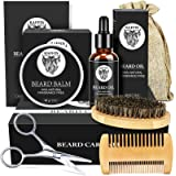 Beard Grooming Kit for Men, Beard Kit with Beard Growth Oil, Beard Wax, Beard Brush, Beard Comb, Storage Bag, and Beard E-Boo