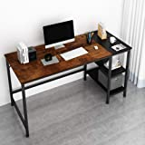 JOISCOPE Home Office Computer Desk, Study Writing Desk with Wooden Storage Shelf,2-Tier Industrial Morden Laptop Table with S