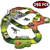 JOYIN Dinosaur 192 Pieces Race Tracks Flexible Train Track Race Car Vehicle Playset with 2 Battery Powered Race Cars and 2 Di