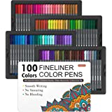 Shuttle Art Fineliner Pens, 100 Colors 0.4mm Fineliner Color Pen Set Fine Line Drawing Pen Fine Point Markers Perfect for Adu