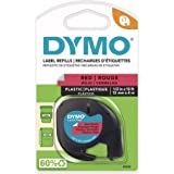 DYMO LetraTag Labeling Tape for LetraTag Label Makers, Black print on Red Plastic tape, 1/2'' W x 13' L, 1 roll (91333)