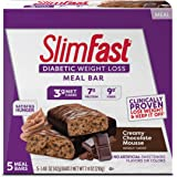 SlimFast Diabetic Weight Loss Meal Replacement Bar - Creamy Chocolate Mousse - 5 Count Box - Pantry Friendly
