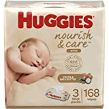 Huggies Nourish & Care Baby Wipes, Sensitive Skincare, Scented, Water-Based, 3 Flip-Top Packs, 56 Count (168 Wipes Total)