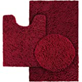 HOMEIDEAS 3 Pieces Bathroom Rugs Set Burgundy, Includes U-Shaped Contour Toilet Mat, Bath Mat and Shaggy Toilet Lid Cover, Ma