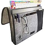Manelyn Bedside Caddy - 5 Pocket Bedside Storage Organiser and Remote Control Holder Locks Securely for Bed, Sofa, Bunk Bed,