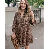 The Drop Women's Loose-Fit Tan Animal Print Tiered Dress by @graceatwood