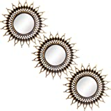 Gold Brushed Mirrors for Wall Decor | Set of 3 Wall Mirrors for Home & Room Decor | Vintage Style Wall Decorations for Living