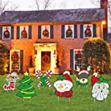 Mosoan Pack of 6 Christmas Yard Signs with Stakes for Holiday Lawn Yard Outdoor Decorations - Christmas Holiday Decorations O