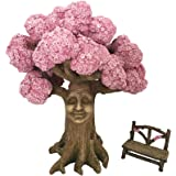 GlitZGlam Ethan'S Magical Tree with A Matching Fairy Bench for The Enchanted Fairy Garden (9 Inch Tall) - A Fairy Garden Acce