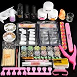 Acrylic Nail Kit Acrylic Powder and Liquid Set,12pc Glitter Powder False Nail Tips Rhinestone Nail Decorations Nail Art Tools