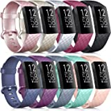 [10 Pack] Soft Silicone Wristbands Compatible with Fitbit Charge 4 Bands, Sports Replacement Straps for Fitbit Charge 4 / Fit