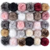 Coopay 30 Pieces Faux Fox Fur Pom Pom Balls DIY Fur Fluffy Pom Pom with Elastic Loop for Hats Keychains Scarves Gloves Bags C