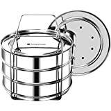 EasyShopForEveryone Stackable Steamer Insert Pans with 2 Lids, Cook 3 Dishes at a time, Compatible with 6qt Instant Pot, Pres