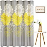 Wimaha Peony Flower Fabric Shower Curtain Mildew Resistant Waterproof Standard Shower Bath Curtain for Bathroom Yellow and Gr