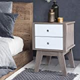 Artiss Bedside Table, Timber Bedside Drawers Sofa Side Table, White & Wood