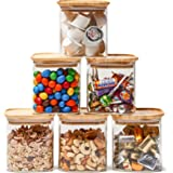 EZOWare 6 Piece Clear Glass Jars Air Tight Stackable Square Kitchen Canister Food Storage Container Set Bamboo Lids for Candy