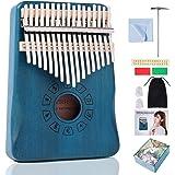 Kalimba Thumb Piano 17Keys,Mahogany Wood Finger Piano,Mbira Piano,Music Party Favor Pack,Portable Instrument,Includes: Mini H