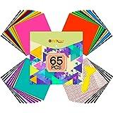 "Vinyl for Cricut - 65 Pack Permanent Adhesive Vinyl Sheets Set - 55 Vinyl Sheets 12"" x 12"" & 10 Transfer Tape Sheets, 35 Colo"