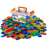 Creative Kids Flakes - 600 Piece Interlocking Plastic Disc Set for Fun, Creative Building - Educational STEM Construction Toy