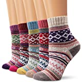Ambielly Winter Women Socks 5 Pairs Vintage Style Knit Wool Casual Socks Thick Warm Colorful Socks