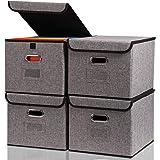 折り畳み収納ボックス整理箱<4つ入り>大型グレー無臭綿麻蓋付き収納ボックス、クローゼット、金属取っ手、おもちゃ、事務室…