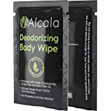 Alcala Deodorizing Body Wipes 100% Pure Bamboo with Tea Tree, Individually Wrapped Biodegradable Shower Wipes (30 Pack)