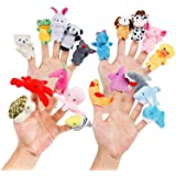20pcs Different Cartoon Animal Finger Puppets Soft Velvet Dolls Props Toys