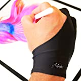 Articka Artist Glove for Drawing Tablet, iPad (Smudge Guard, Two-Finger, Reduces Friction, Elastic Lycra, Good for Right and