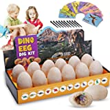 Yuboa Dinosaur Toy Dig Kit for Kids,12 Pack Unique Dino Egg Excavation Kit for Easter Party,Dinosaur Fossil Eggs Archaeology