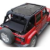 RT-TCZ Black Durable Mesh Sunshade Top Cover Provides UV Sun Protection for 2007-2017 Jeep Wrangler JK or JKU -4 Door
