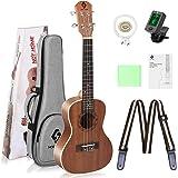 Ukulele Concert Size Starter Kit, 23 inch Professional Wooden Ukelele Instrument Kit Hawaiian Yukelele Guitar Pack with Gig B