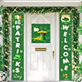 WENWELL 3 in 1 St Patricks Day Decorations for Front Door, Irish Shamrock Leprechaun Home Porch Décor Banner,Welcome Party Ou