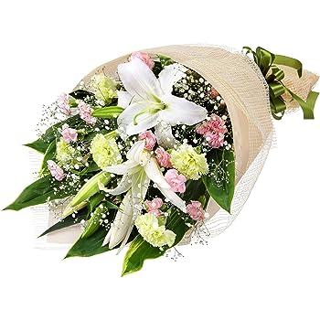 お供え・お悔やみの献花 花キューピットのお供えの花束(白オリエンタル系ユリ、ピンクSPカーネーション等)