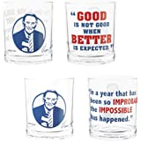 Zak Designs Collectible Vin Scully Double Old Fashioned Glass Tumbler Set 14.5 oz, Perfect for Dodger Baseball Fans and Drink