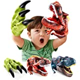 Geyiie Dinosaur Hand Puppet Toys, Soft Rubber Dinosaur Claws and Head, Animal Realistic Dino Glove Puppets for Kids,Boys,Girl