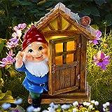 Juegoal Garden Gnome Statues, Tree Sculpture Solar Powered LED Lights Resin Gnome Elf Figurine Open The Door, Lighted Garden